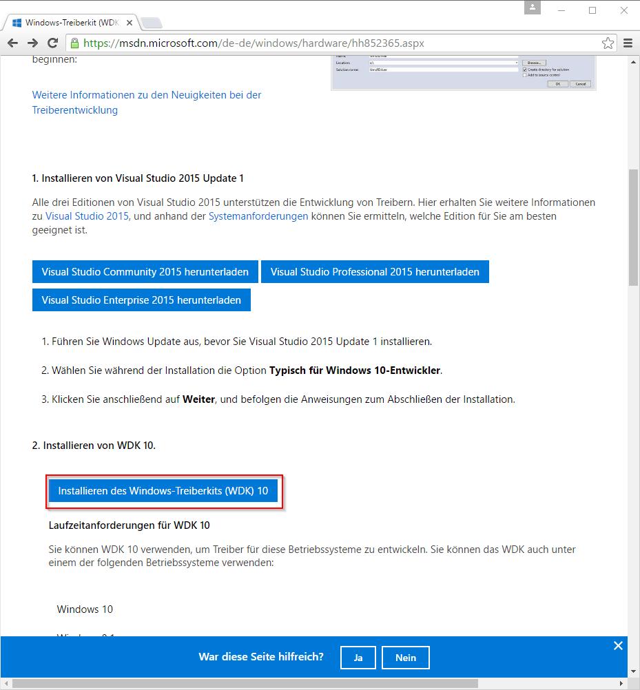 DPInst - WDK herunterladen