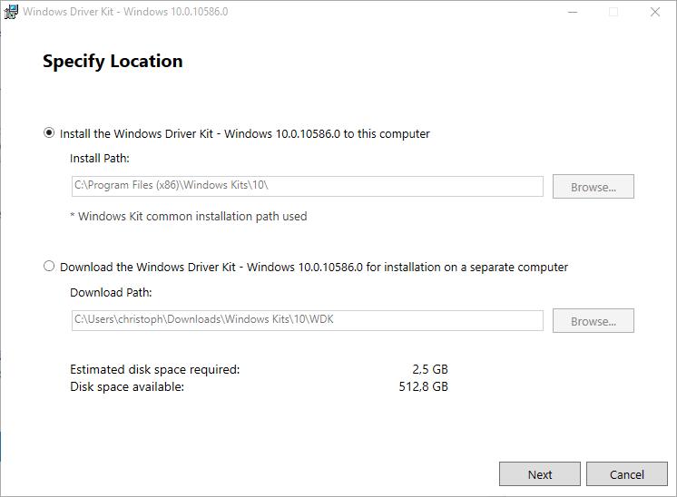Dpinst - WDK installieren 1