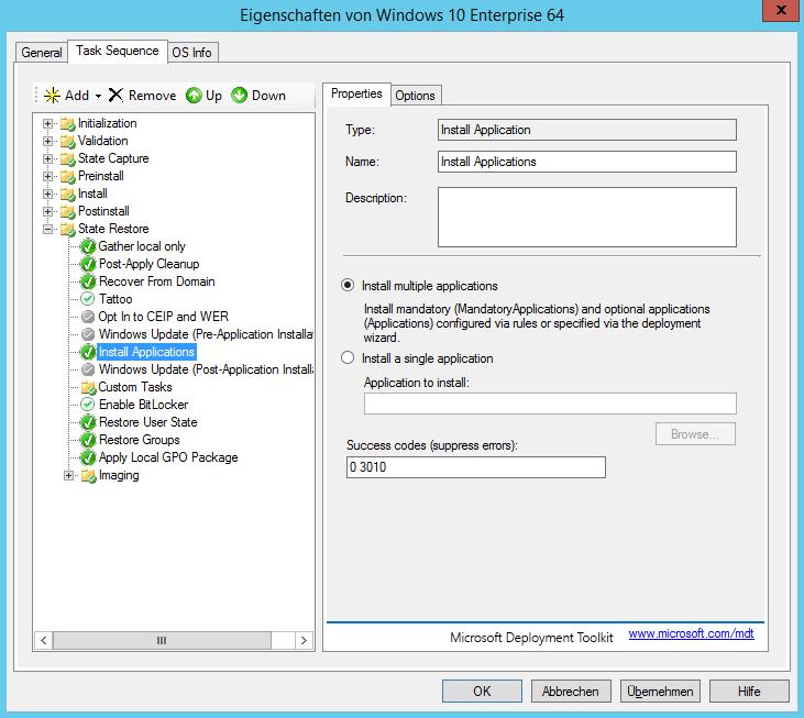 MDT 2013 - Anwendung in Tasksequenz installieren - automatisch 2