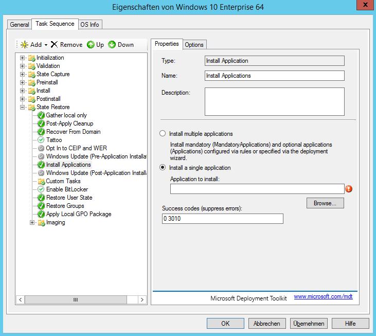 MDT 2013 - Anwendung in Tasksequenz installieren - automatisch 3