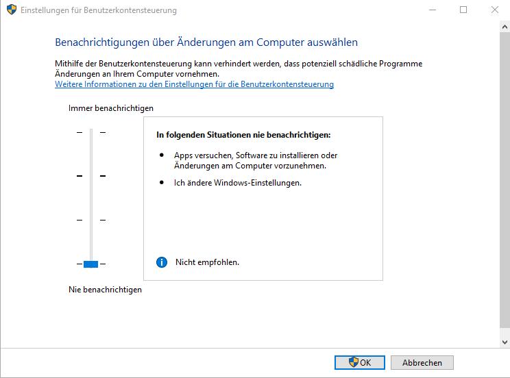 Per Rechtsklick keine Dateien erstellbar - 2 - UAC