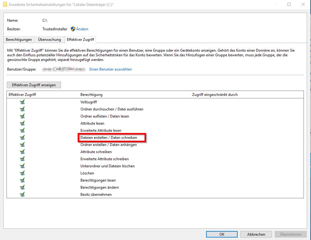 Per Rechtsklick keine Dateien erstellbar - 3 - Berechtigungen