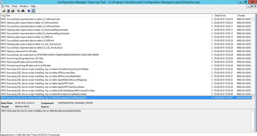 SCCM 1602 - CMUpdate.log