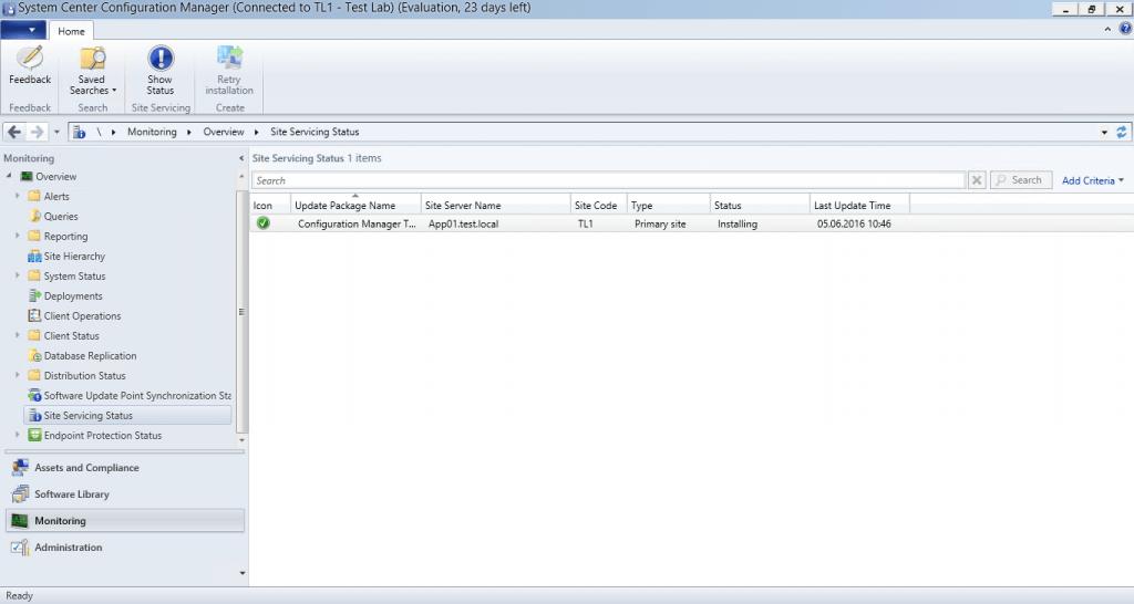 SCCM 1602 - Site Servicing Status